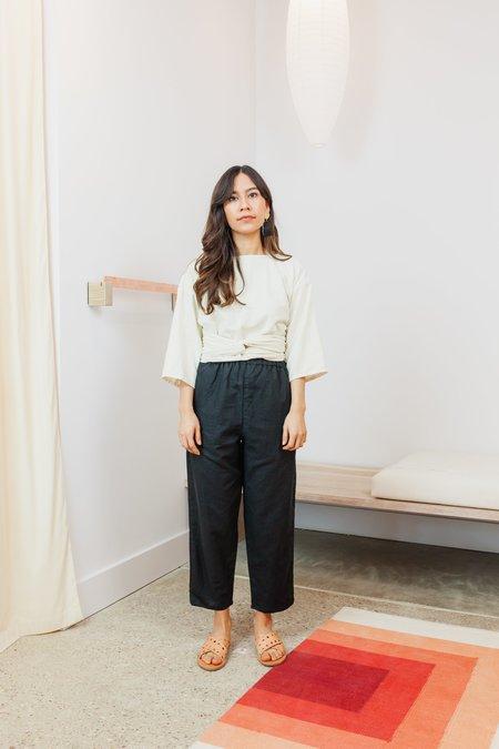 Miranda Bennett Silk Noil Petite Wrap Top - Natural