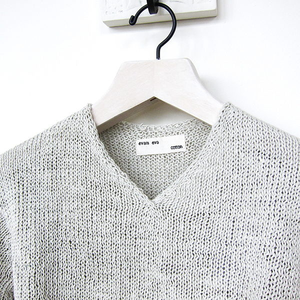 Evam Eva cotton v-neck sweater - greige