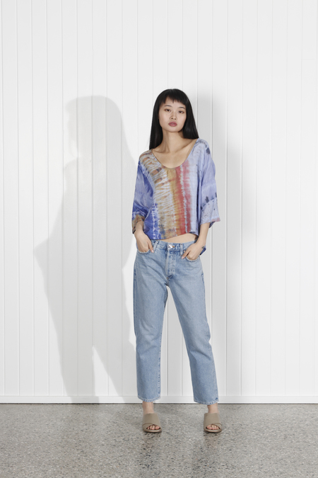 1deb86b83ef9c ... Raquel Allegra Tie Dye Pop Over Top - Waterfall