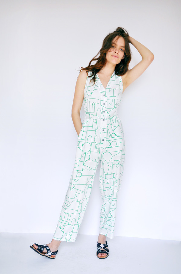 Dusen Dusen Blockhead Green Long Jumpsuit