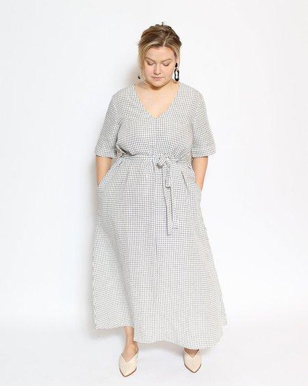 Ali Golden V-Neck Dress with Buttons - Grid