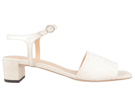 BY FAR Ines in White Ostrich Embossed Leather