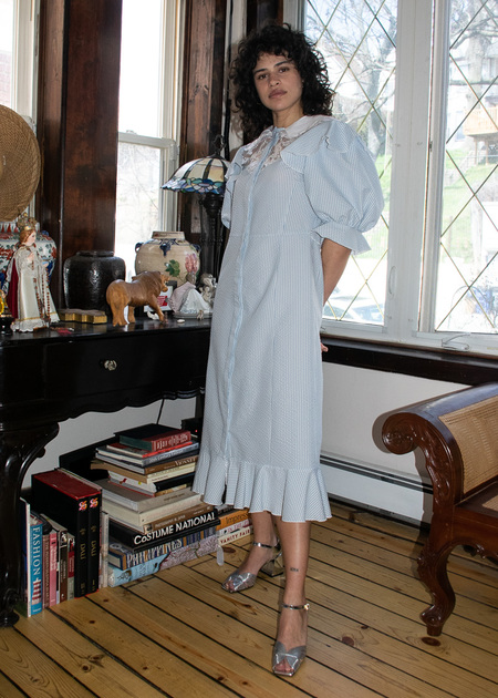 Suzanne Rae Long Dress W/ Collar in Light Blue