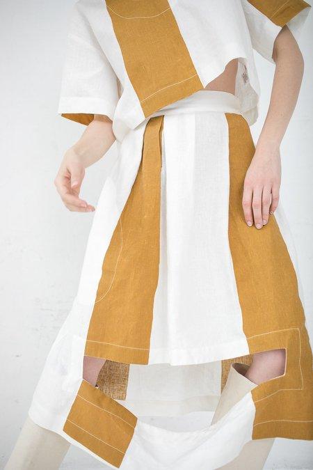 Nancy Stella Soto Striped Linen Skirt - Mustard