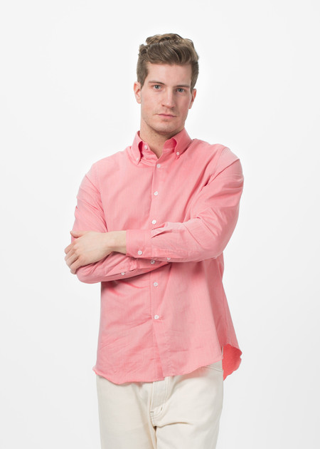 Shockoe Atelier Micro Check Button Down - Salmon Pink