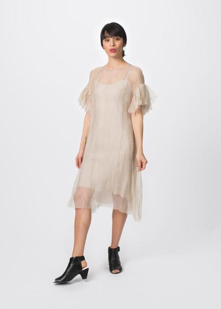 Louiza Babouryan Ruffle Sleeve Dress with Slip