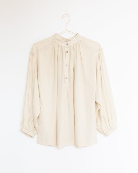 Black Crane Balloon Sleeve Blouse - Cream