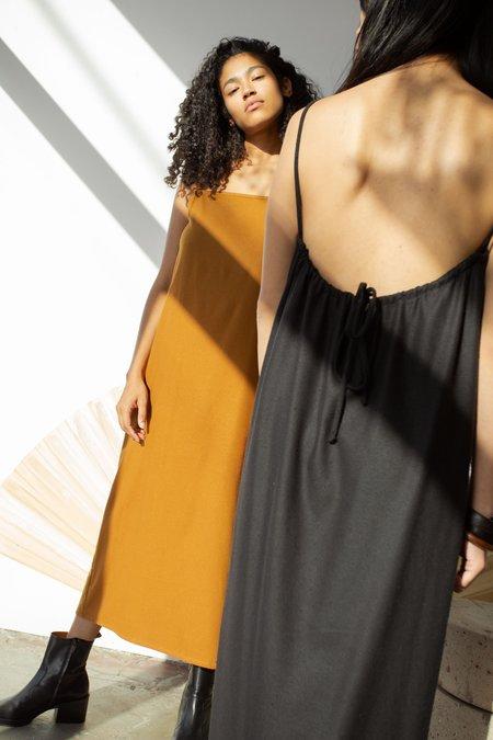 OR Drawstring Slip Dress - Caramel