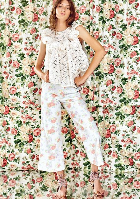 Manoush Denim Pantalon - Blanc Floral