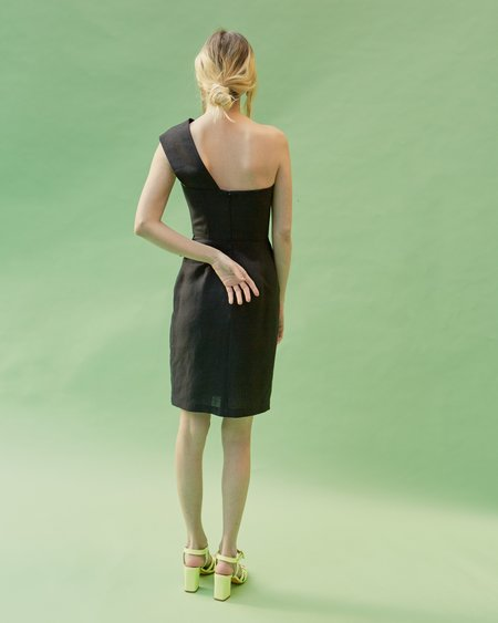 No.6 Delphine One Shoulder Dress - black