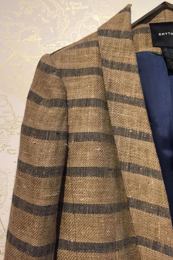 Smythe Long Shawl striped linen blazer