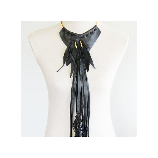BISJOUX Heron fringe collar leather necklace