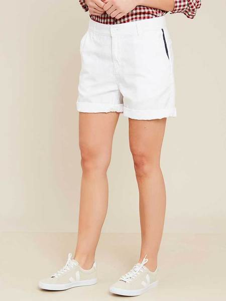 Hartford Safran Stripe Short - White