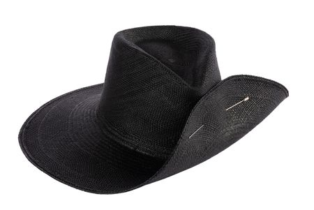 Clyde Wide Brim Pinch Hat w/ Pin - Black Panama Straw