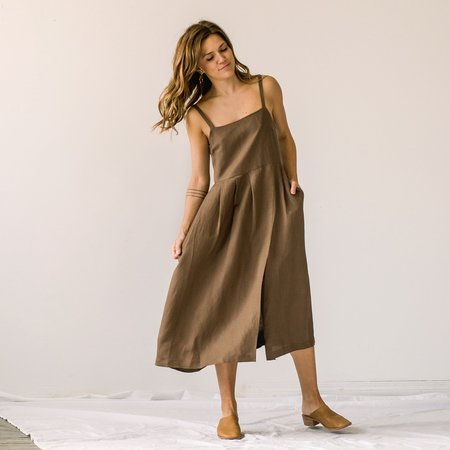 First Rite Pleated Dress - Cocoa