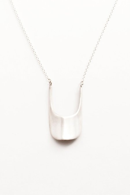 Another Feather Scoop Necklace - Silver
