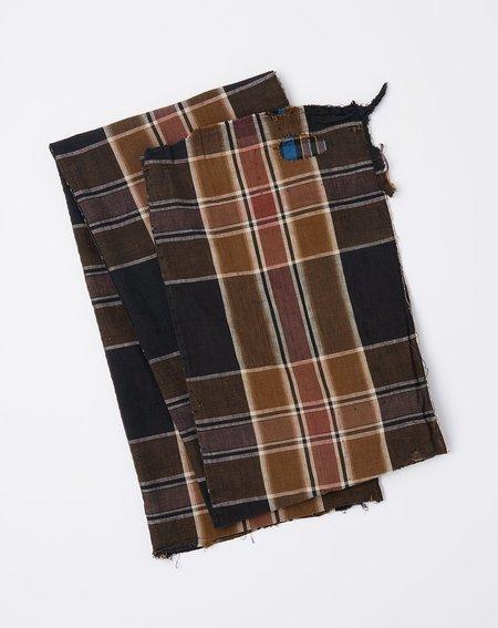 Vintage Oversized Scarf - Dark Brown Madras