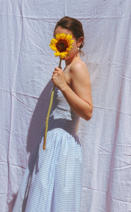Pari Desai pondicherry skirt/dress - azure stripe