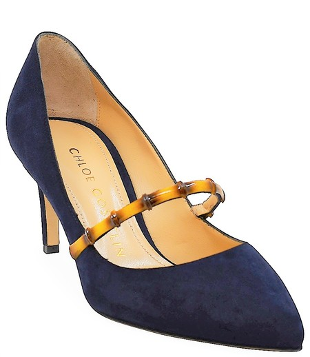 Chloe Gosselin Navy August 70 Pointed Pump