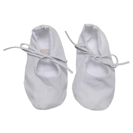 KIDS Makié Remi Newborn Shoes - White/Grey Pinstripes