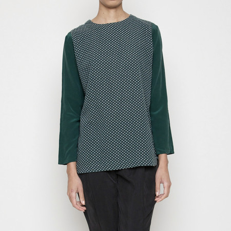 Spring Cross-stitch Long Sleeves Top - Green