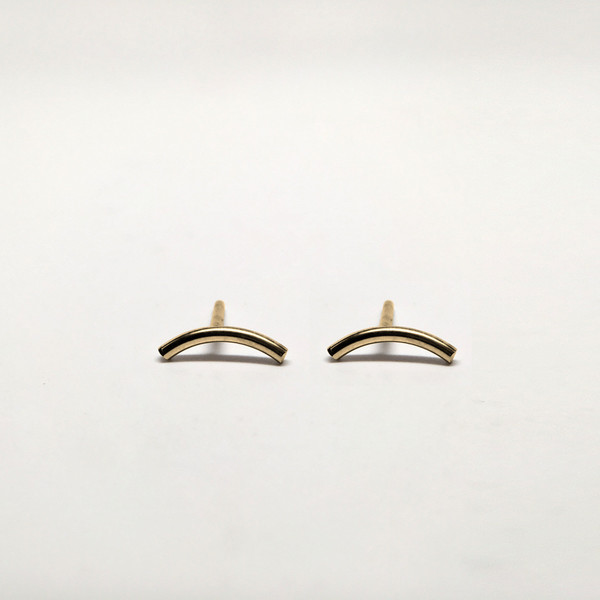 Curve Bar Stud Earrings - gold filled