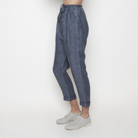 7115 by Szeki Linen Drawstring Pant R16- Blue