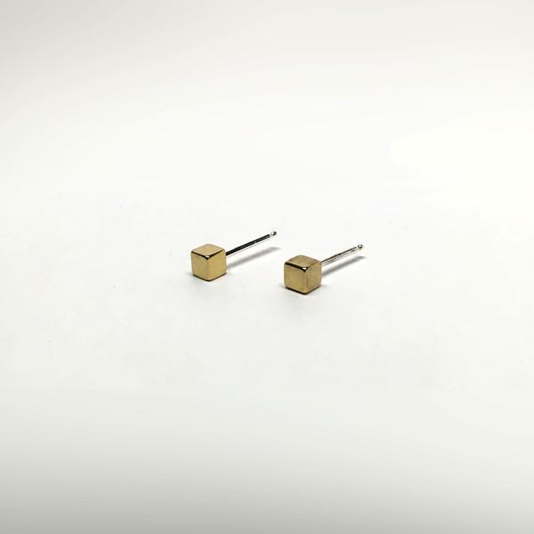 7115 by Szeki Mini Cube Stud Earrings