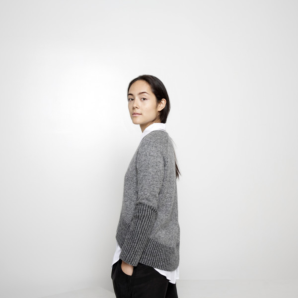 7115 by Szeki Reversible Cropped Sweater FW15 - Grey/Charcoal