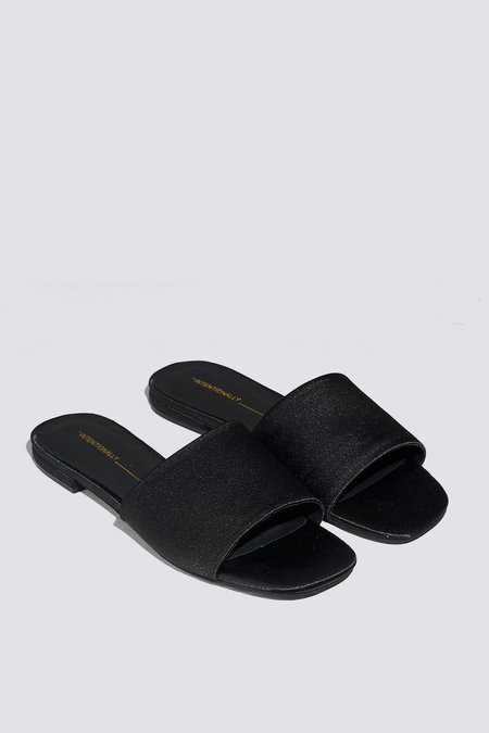 """INTENTIONALLY __________."" Satin Jessica Sandal - Black"