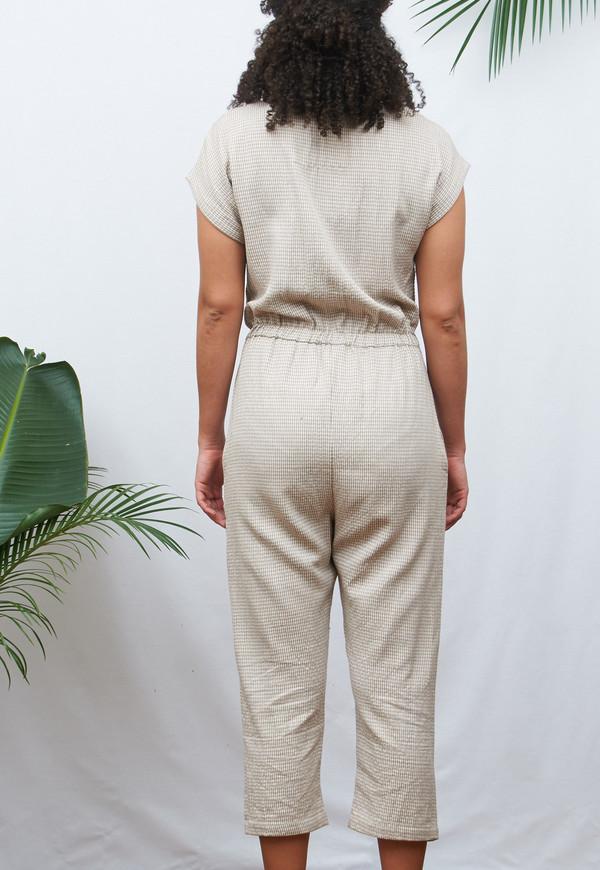 Deshal Natural & White Houndstooth Jumpsuit