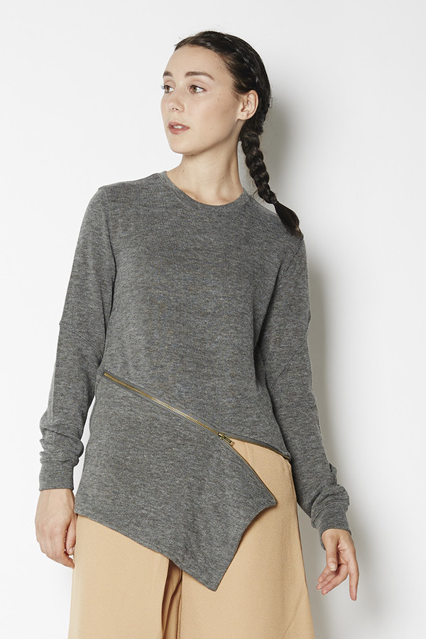Shades of Grey Asymmetric Zipper Sweater