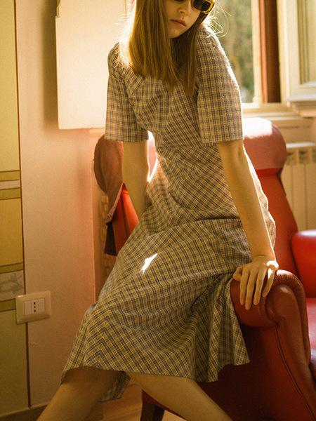 DUNST V Neck Flared Dress - Check