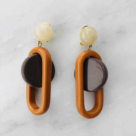 Rachel Comey Lohr Earrings - Orange/Taupe