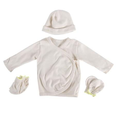 KIDS Bien A Bien Four Piece Set Long Sleeved Shirt, Hat, Mittens, And Booties - Beige Brown