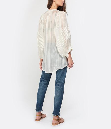 Rabens Saloner Elena Lurex Stripe Shirt - White Sand