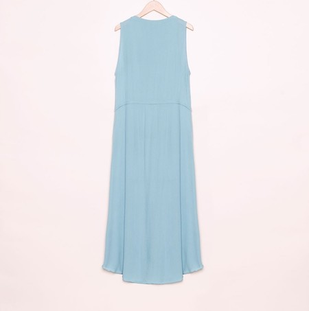 Rabens Saloner Margit Crinkle Drawstring Dress - Dusty Blue