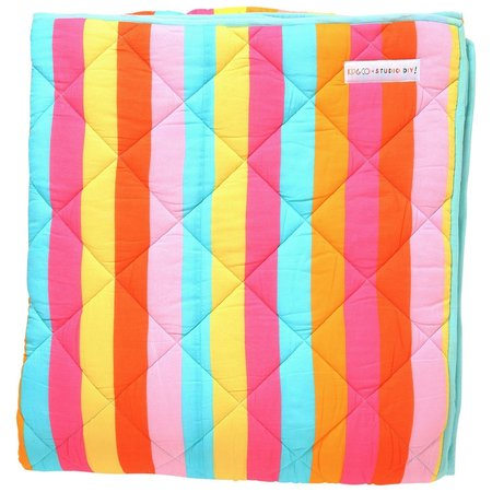 KIP & CO Rainbow Striped Quilted Comforter