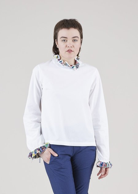 Mii Collection Ruffle Collar Blouse - White