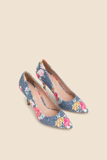 Manoush Escarpin Heels -  Floral Denim Blue