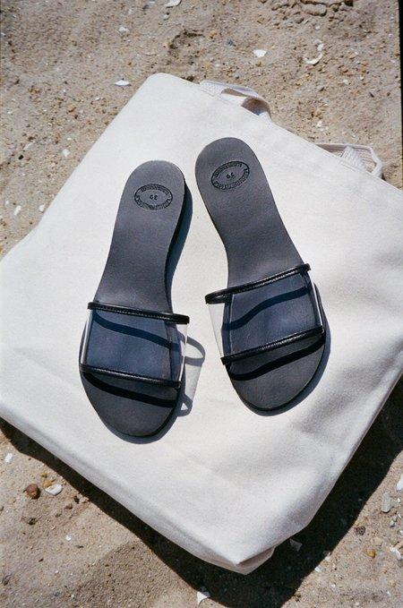 OffSeasonNYC Grecian Translucent Slide Sandal - Black