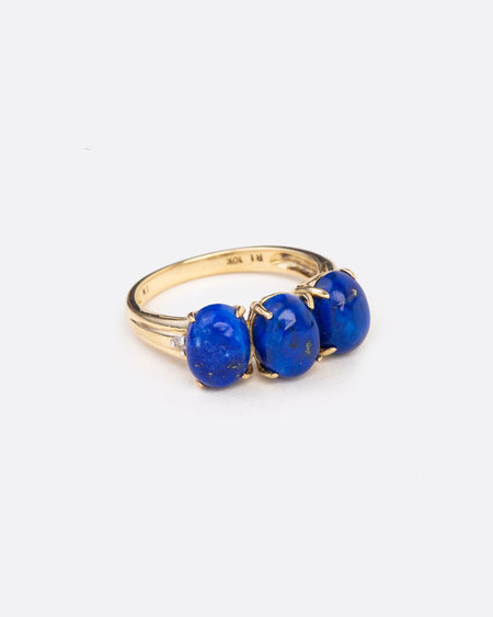 Love Adorned Vintage Lapis and Yellow Gold Ring