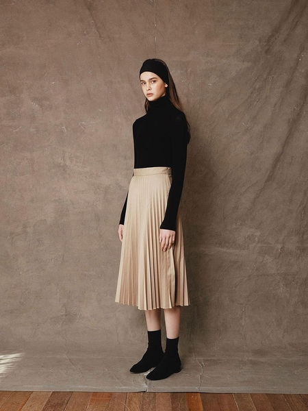 Courri Lily Pleated Skirt - Beige