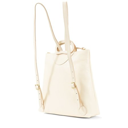 Clare V. Marcelle Backpack - White Rustic with Stripes