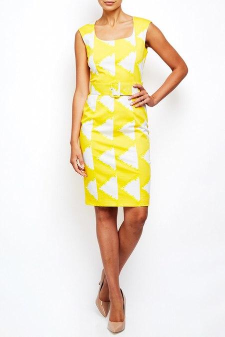 Samantha Sung fitted cotton shift dress - yellow