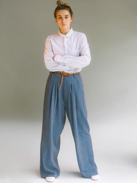 Audrey Louise Reynolds Organic Cotton Oxford Button Down Shirt - Grey
