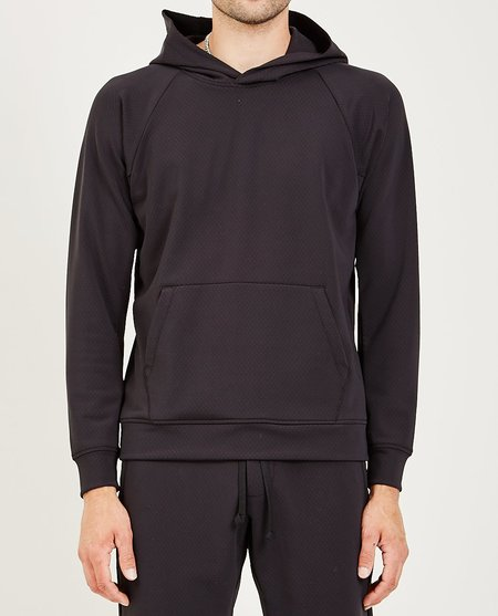 Wings+Horns FLASH KNIT HOODED PULLOVER - BLACK