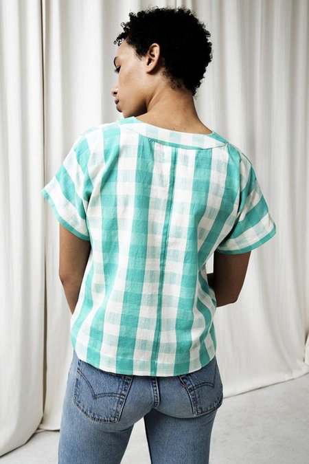 Seek Collective Oberoi Top - Mint Gingham