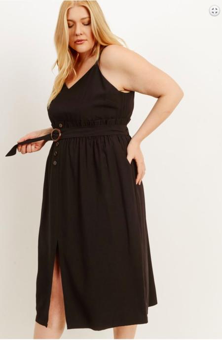Gilli Plus Size Belted Slit Dress - Black