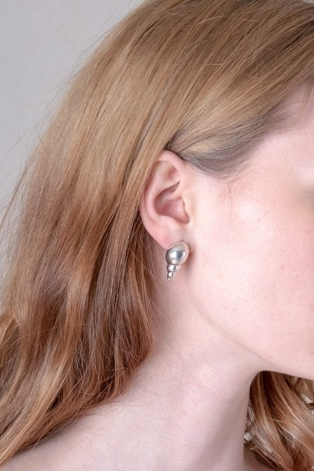 Another Feather CONCHA EARRINGS - SILVER